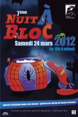 affiche de la nuit à bloc, contest d'escalade à Bourg St Maurice en Savoie